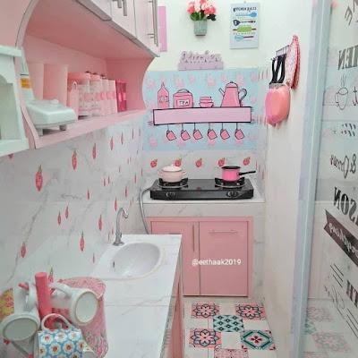 Desain dapur minimalis 2x2  lucu warna pink