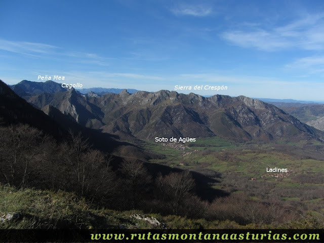Vista de Peña Mea, Cogollo y Sierra del Crespón
