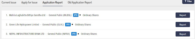 application report of mero share