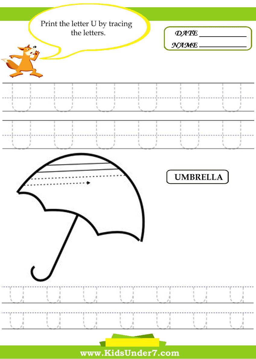 Worksheet U Family Words color words trace and write fruit kids under 7 alphabet worksheets print letter u