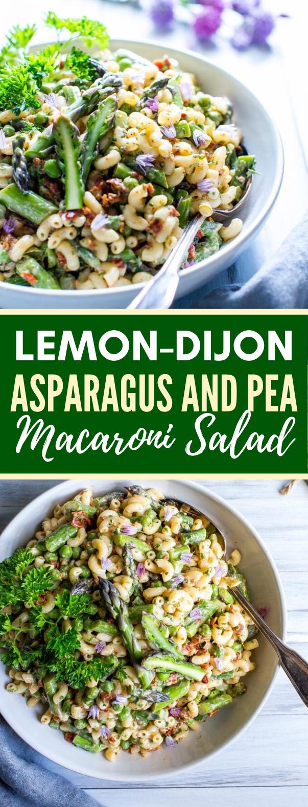 LEMON-DIJON ASPARAGUS AND PEA MACARONI SALAD #vegetarian #diet