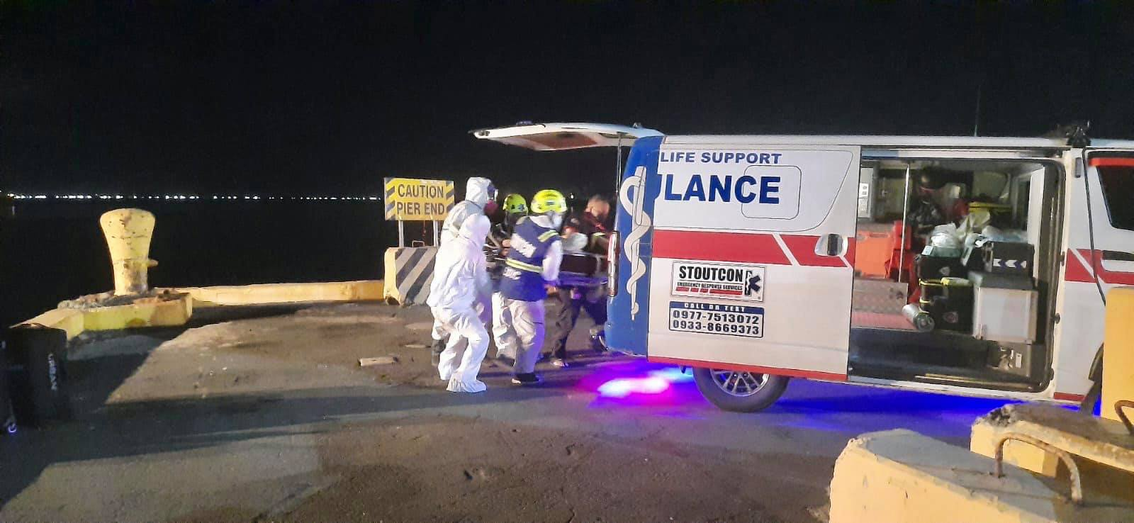Two crew members of MV Athens Bridge from India, who were in critical condition, were brought to a medical facility in Manila