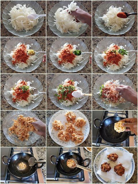 images of Ulli Vada / Kerala Ulli Vada / Onion Vada / Easy Ulli Vada Recipe / Kerala Onion Fritters - A Tea Time Snack