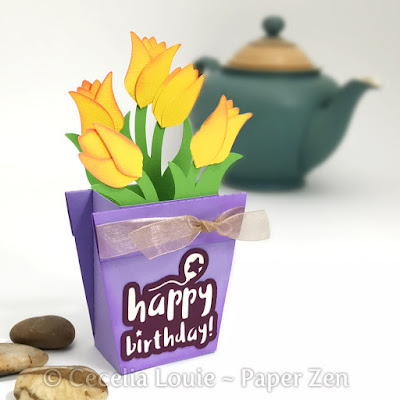 flower pot box card paper crafting SVG Cricut Explore Design Space