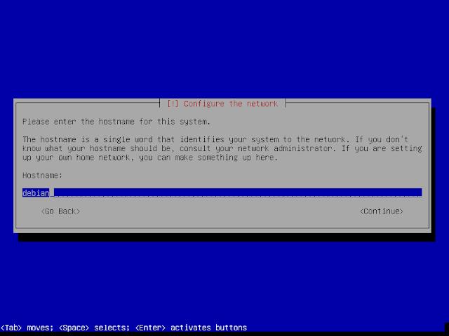 hostname instalasi debian 9.6