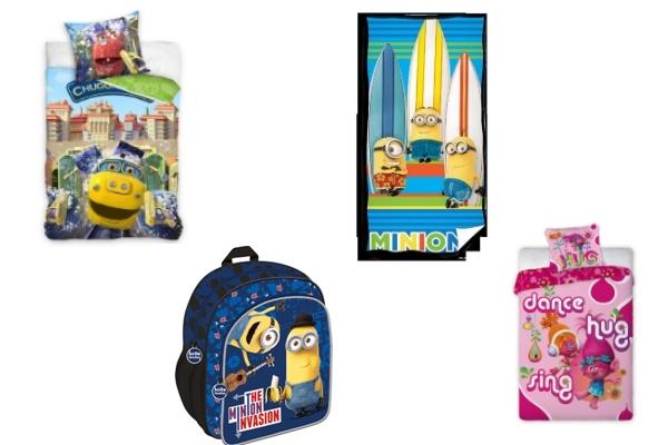 prezenty dla przedszkolaka do 100zł ze smyka minionki, plecak, pościel, ręcznik, trolle, stacyjkowo