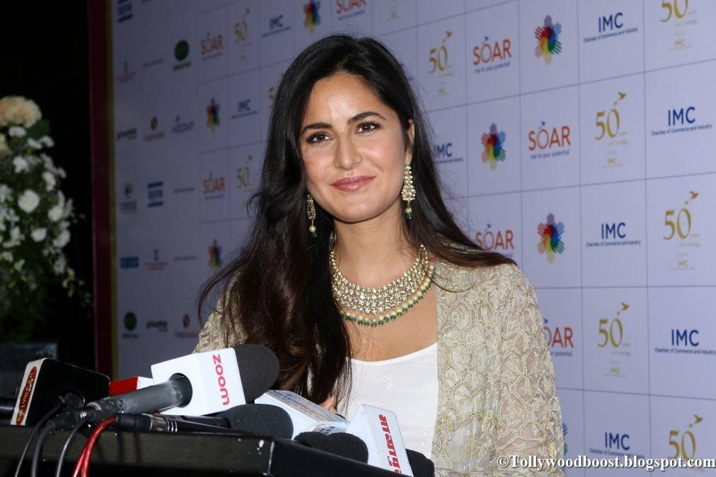 Katrina Kaif Stills At IMC 50th Year Celebrations In White Dress
