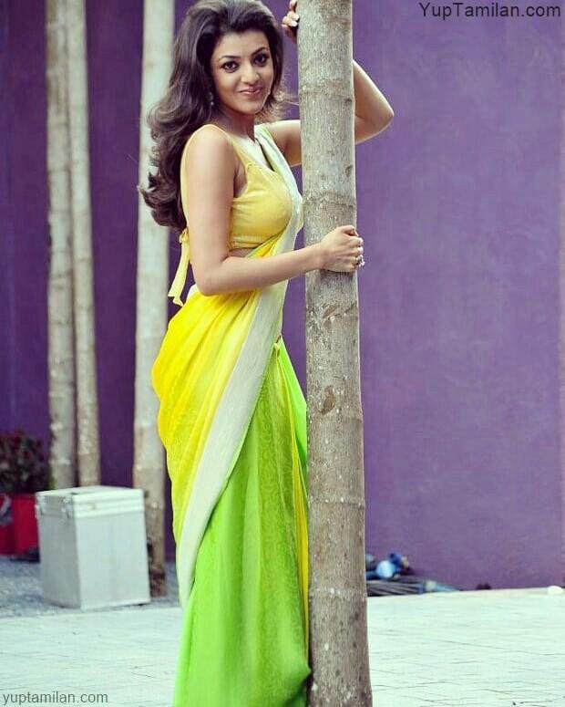 Kajal-Agarwal-Sexy-navel-pictures-wearing-Saree