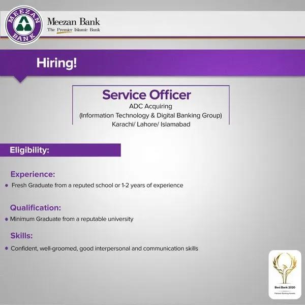 Meezan Bank Jobs 2021 for Service Officer