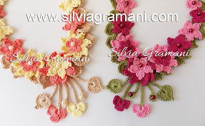 Colares de crochê com Flores - Colar Encanto
