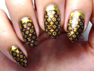 Gold Louis Vuitton Nail Art