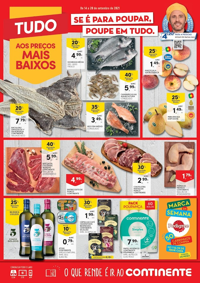 "Folheto semanal CONTINENTE - ""Tudo aos preços + baixos"" - de 14 a 20 de setembro"