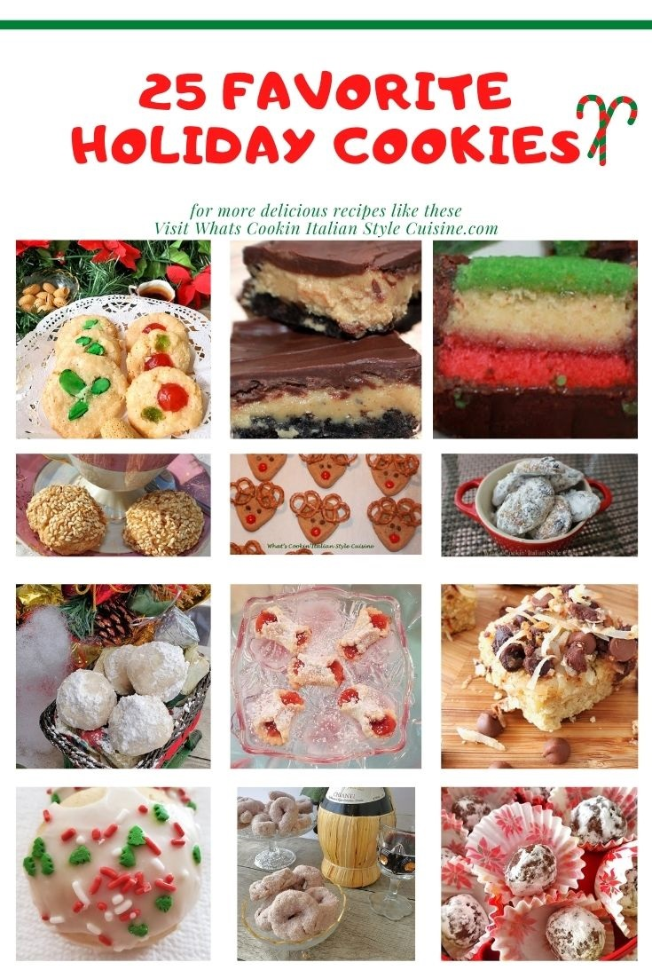 this is a collage of 25 popular Christmas Cookies in a pin for later