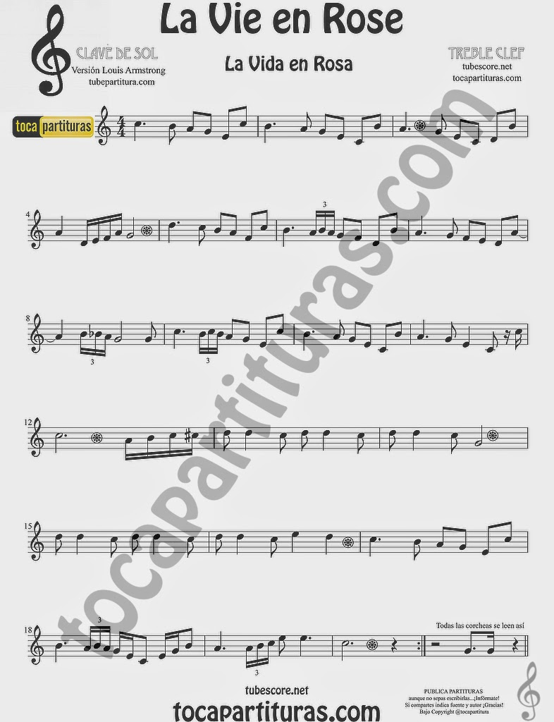 La Vida es Rosa Partitura de Oboe La Vie es Rose sheet music for Oboe