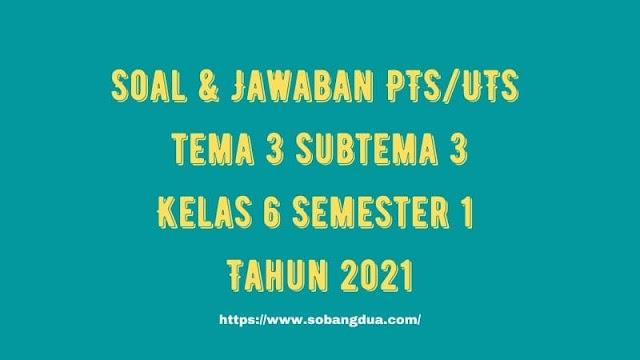 Soal & Jawaban PTS/UTS Kelas 6 Tema 3 Subtema 3 Semester 1 Tahun 2021