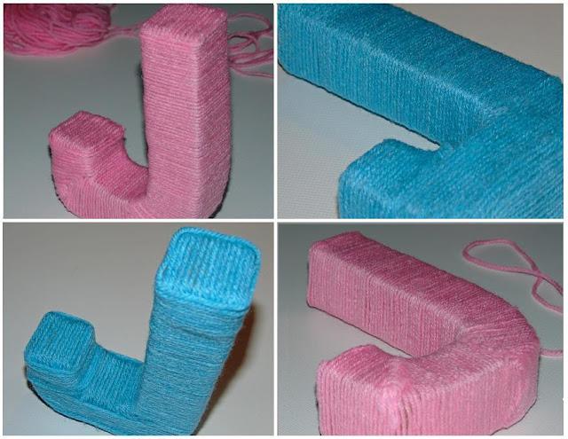 jak zrobić dekoracyjną literę z kartonu i włóczki