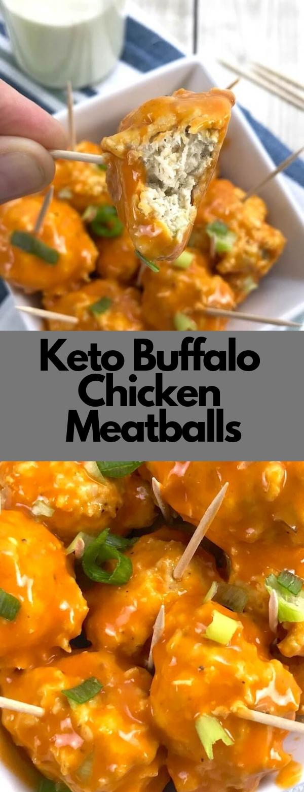 Keto Buffalo Chicken Meatballs #keto #meatballs #appetizer #lowcarb #paleo #glutenfree