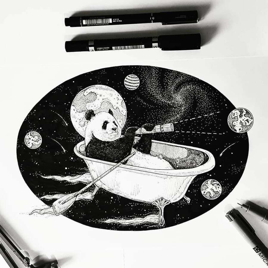 02-Panda-on-a-boat-ride-Juan-Velilla-Drawings-www-designstack-co