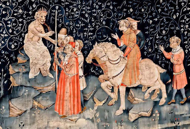 Adoração da imagem da besta. Tapeçaria de Angers, França. O Anticristo estaria aguardando que a conspiração dos cristãos fingidos se revele aos homens.