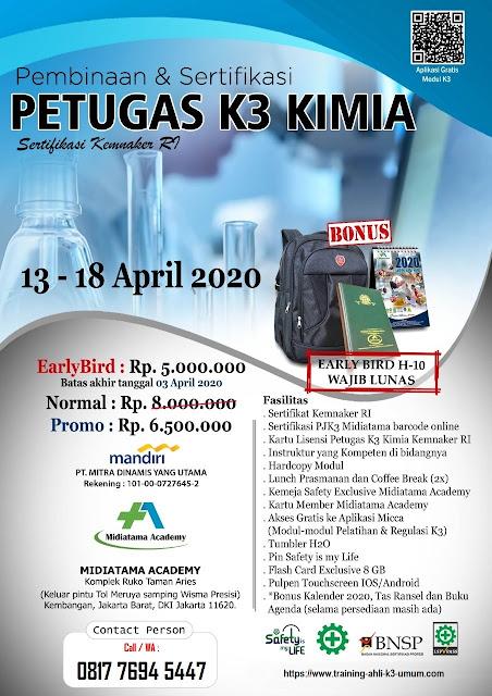 Petugas K3 Kimia murah tgl. 13-18 April 2020 di Jakarta