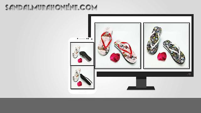 Sandal Spon Termurah- Sandal AMX Spon Motif Bunga Wanita