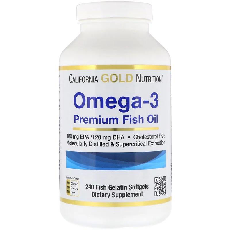 California Gold Nutrition, Омега-3, рыбий жир премиум-класса, 240 мягких капсул с рыбным желатином