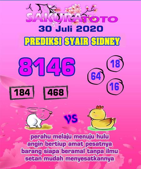 Prediksi Sakuratoto Sidney Kamis 30 Juli 2020