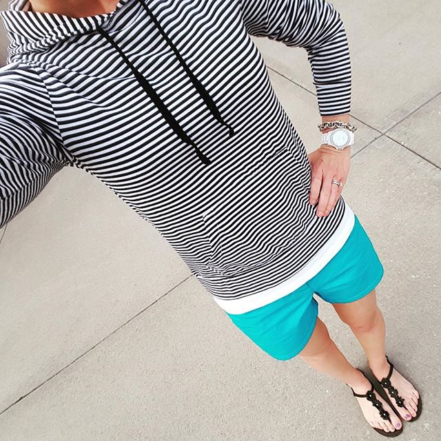 Old Navy Striped Hoodie (similar - 40% off!) // J. Crew Factory Shorts - 50% off! // Mossimo Tee // Steve Madden Sandals (similar) // Fossil Watch // Punch Link Bracelet - only $10!