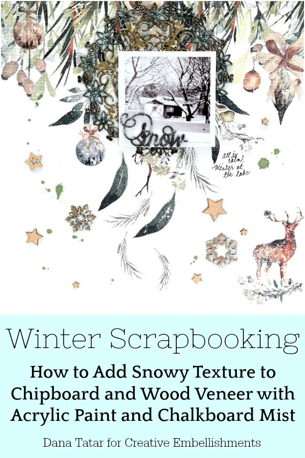 Rustic Woodland Snow Winter Scrapbook Layout with Chipboard and Wood Veneer Embellishments