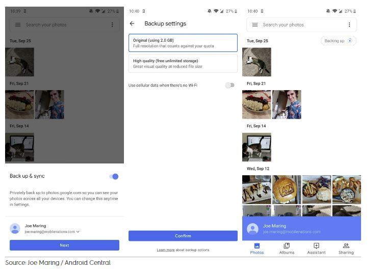 Setting Google Photos on Android in Instance steps