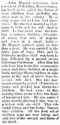 Kristin Holt | Surprising Victorian Multiple Births. A Tale of a German, John Hepner, now of Reading, PA whose series of wives bore him many multiples. The Middleburgh Post of Middleburgh, PA on May 13, 1875.