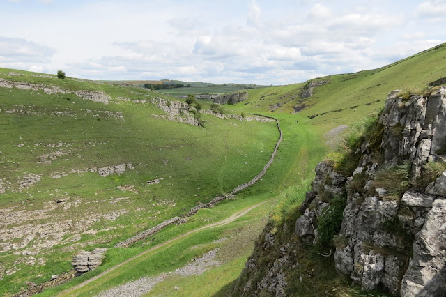 A view from high up along the dale. Limestone scars on the far side of the dale and a dry stone wall running along the valley floor.