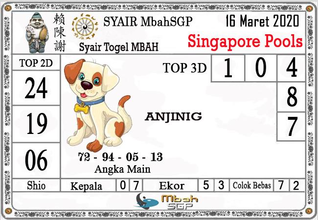 Prediksi Togel Singapura Senin 16 Maret 2020 - Syair Mbah SGP