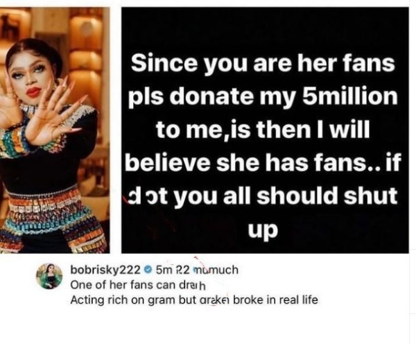 Contribute my N5M for me then I'll know she has fans – Bobrisky blows hot at Tonto Dikeh's fans