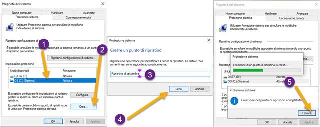 creazione di un punto di ripristino su Windows 10