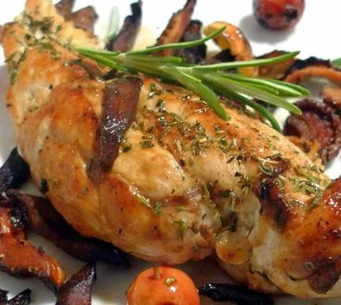 Pechugas de pollo envueltas en tocino receta