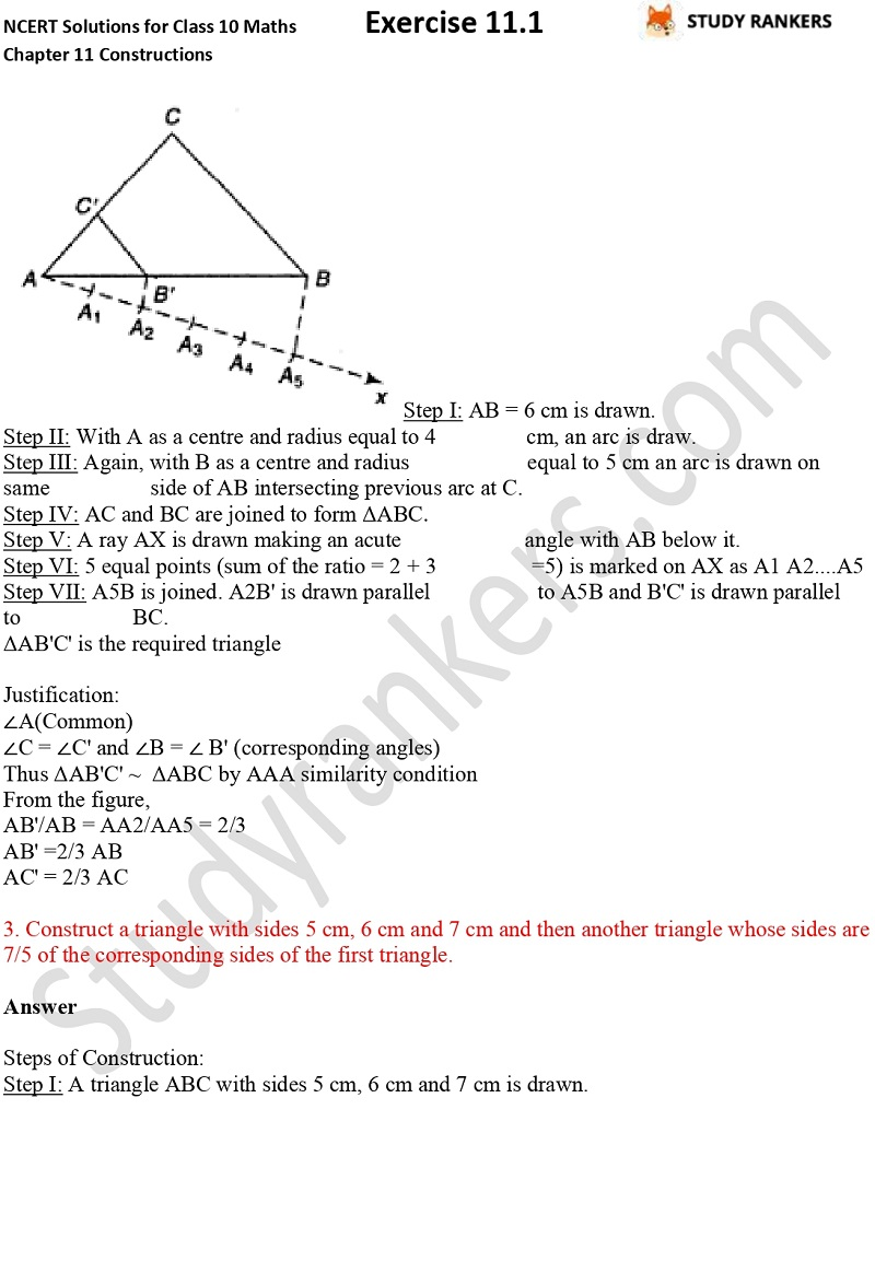 NCERT Solutions for Class 10 Maths Chapter 11 Constructions Exercise 11.1 Part 2