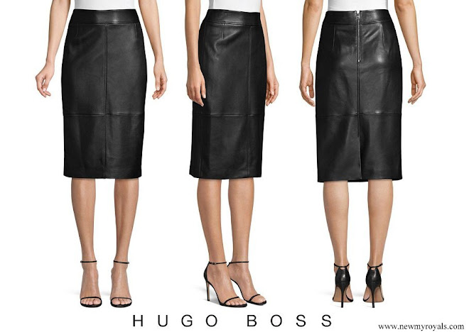 Queen Letizia wore HUGO BOSS Selrita Lambskin Leather Pencil Skirt