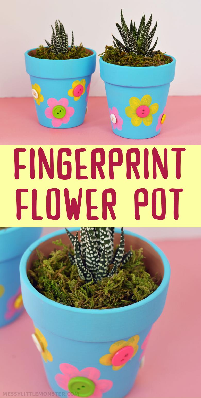 Fingerprint flower pot craft. An easy flower craft for kids.
