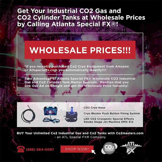 Get Your Industrial Co2 Gas and Co2 Tanks Nationwide from ATL Special FX® - Nationwide Distributor of Wholesale CO2 Gas and CO2 Tanks www.atlspecialfx.com www.co2masters.com