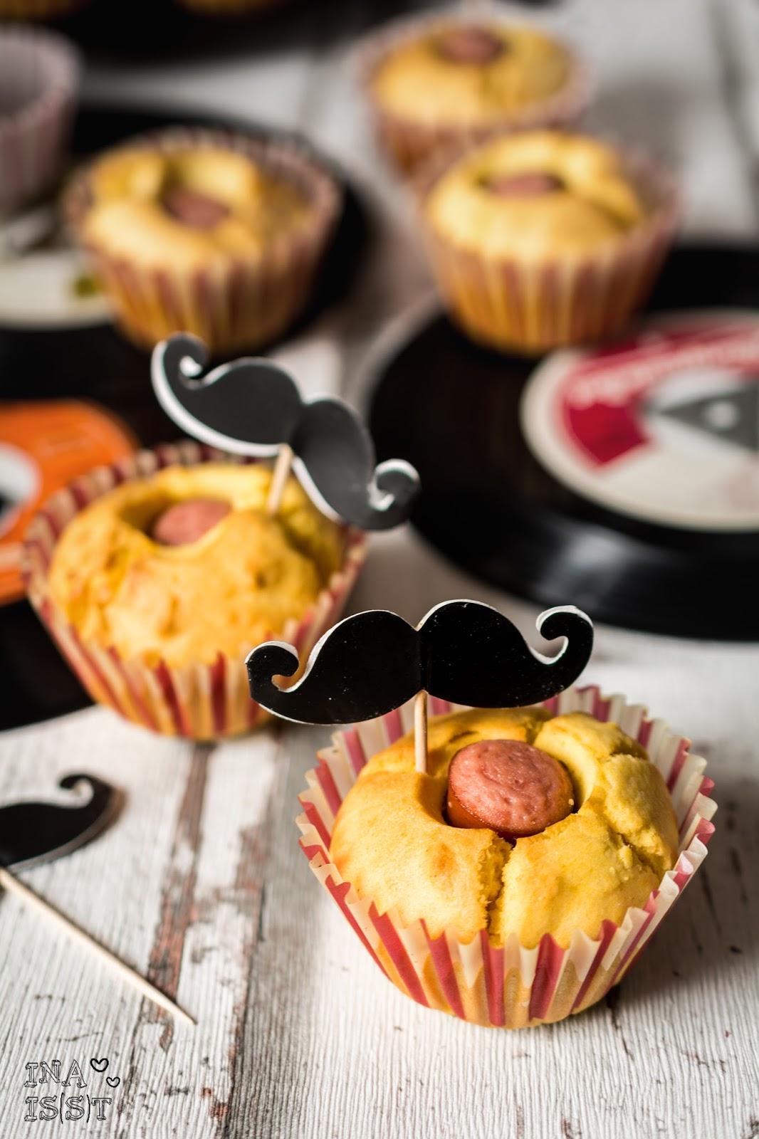 kaesekuchen mit wuerstchen, ina is(s)t: maismehl-muffins mit würstchen / corndog muffins with, Design ideen