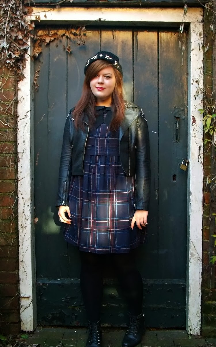 Fashion Is Our Religion, Outfit of the day, Fashion Blogger, UK style blog, Fashion blog, Topshop leather jacket, Primark tartan dress, New Look Lace Up ankle boots, ASOS beanie hat
