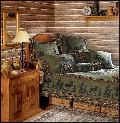 Lodge and Cabin Bedding log cabin - rustic style decorating - Cabin decor - bear decor - camping in the northwoods style  - Antler decor - log cabin boys theme bedroom - Cabin Bedding - Rustic Bedding - rustic furniture - cedar beds - log beds - LOG CABIN DECORATING IDEAS - Swiss chalet ski lodge murals - camping room decor