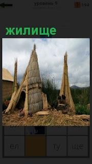 Построенные из соломы жилища в виде палаток и домашняя утварь рядом