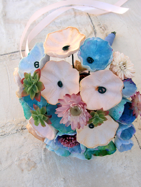 handmade paper bouquet for beach wedding