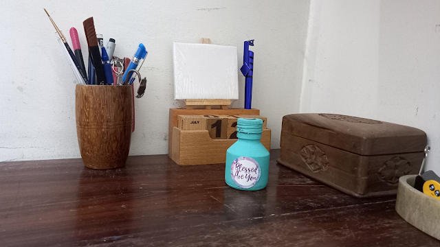 Old ink pot as a desk accent