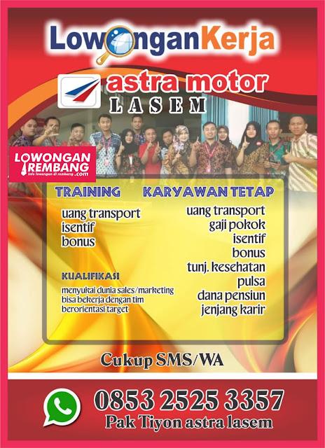 Lowongan Kerja Training Karyawan Tetap Astra Motor Lasem Rembang