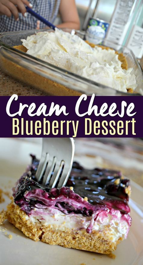 Blueberry Cheesecake Dessert-I love the cream cheese lemon filling or graham cracker best on this blueberry cheesecake dessert, but it tastes amazing and is easy to make!