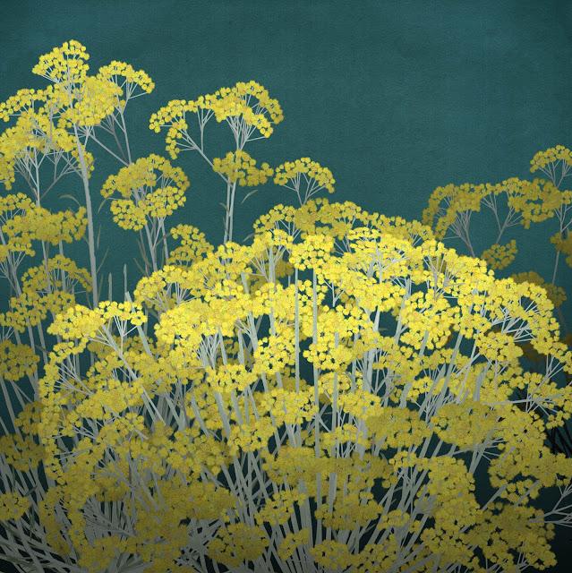 flores amarillas, dibujo