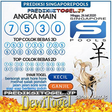 Prediksi Dewi Togel SGP Minggu 26 Juli 2020